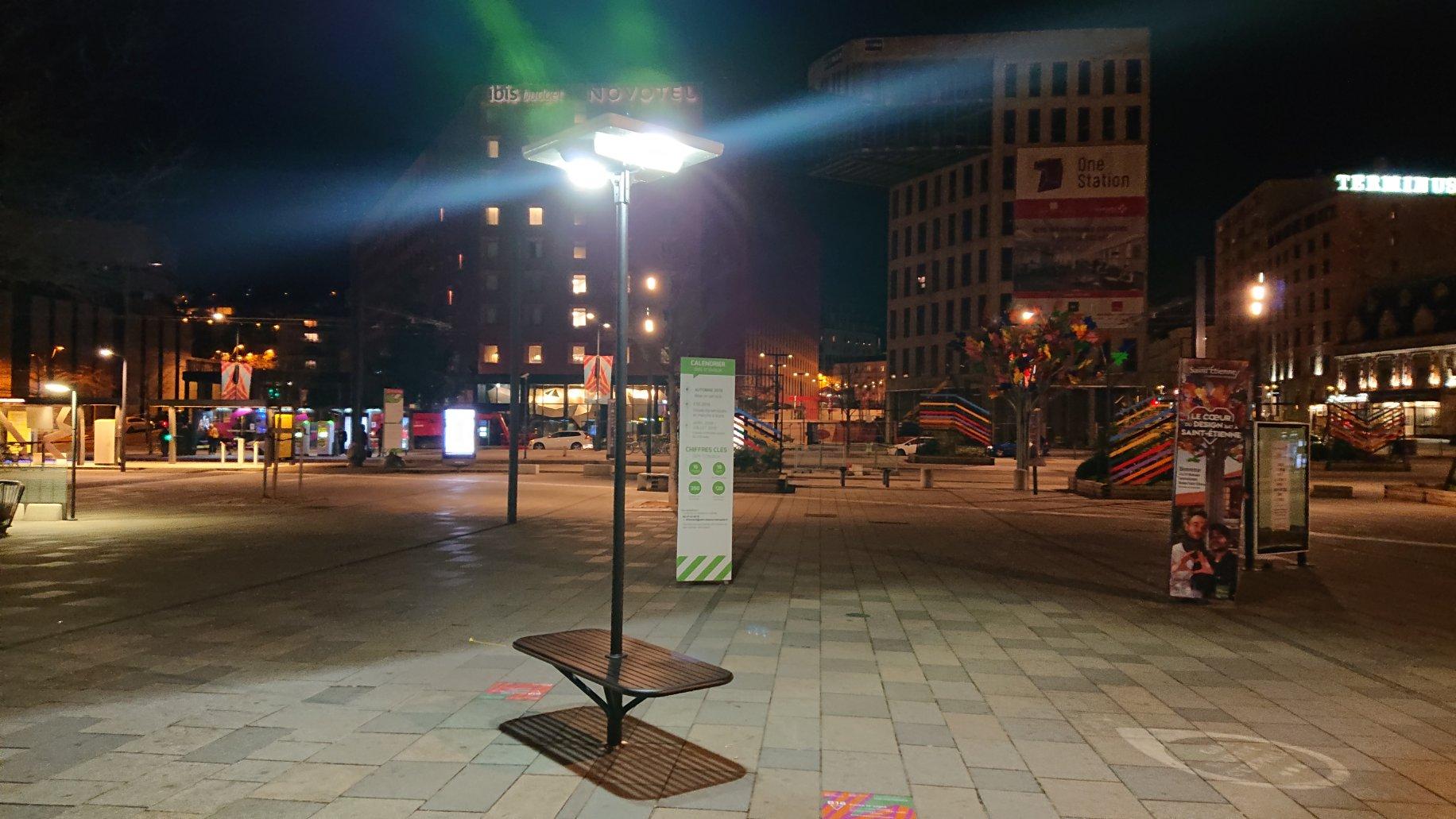 Street furniture with solar lighting at the International Design Biennale in Saint-Etienne
